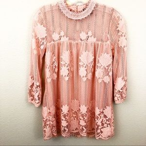 Miss Chievous XS Pink Lace Blouse Detailed